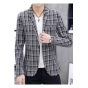 Men's Slim-Fit Single Button Long Sleeve Notch Lapel Plaid Wedding Suits for Groom