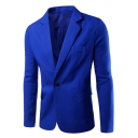 New Stylish Notched Lapel Long Sleeve Single Button Solid Mens Suit Blazer