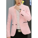 Trendy Casual Notch Lapel Single Button Long Sleeves Flap-Pockets Slim Mens Blazer Jacket
