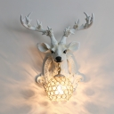 Clear Crystal Wall Lamp Globe 1 Light Vintage Wall Sconce with Deer Decoration