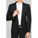 Mens Business Solid Long Sleeve Single Button Notch Lapel Wedding Suit for Groom