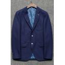 Men's Simple Plain Notched Lapel Collar Long Sleeve Double Button Dark Blue Blazer Coat