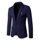 Men's Solid Notched Lapel Single Button Long Sleeve Comfort Slim Fit Suit Blazer