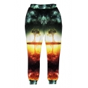 New Stylish 3D Galaxy Tree Printed Elastic Waist Unisex Casual Pants Sweatpants