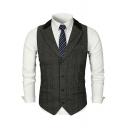Men's Stylish Plaid Pattern Single Breasted Notched Lapel Collar Slim Fit Suit Vest