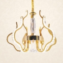 Living Room Chandelier Light Metal Contemporary Pendant Lighting Fixture with Clear Crystal in Gold