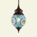Blue Globe Ceiling Light Single Light Moroccan Blue Glass Hanging Lamp for Dining Room