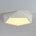 Pentagon LED Flush Lighting with Clear Crystal Modern Acrylic Ceiling Fixture in White for Living Room