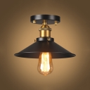 Industrial Flared Semi Flush Light with Metal Shade 1 Light Ceiling Light in Brass Finish