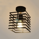 Rectangle Semi Flush Light with Cage Single Bulb Industrial Ceiling Flush Mount in Black
