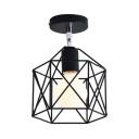 Singe Light Caged Semi Flush Light Vintage Style Ceiling Light for Hallway
