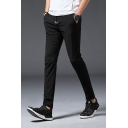 Men's Fashion Solid Color Drawstring Waist Leisure Slim Fit Tailored Trousers