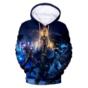 Popular Film Figure Printed Long Sleeve Blue Casual Hoodie