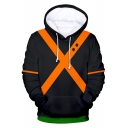 3D Colorblocked Cosplay Costume Long Sleeve Black Drawstring Hoodie
