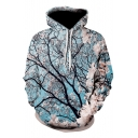 Fashion Comfort 3D Sakura Pattern Long Sleeve Blue Loose Pullover Hoodie