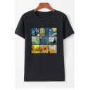 Women's Trendy Van Gogh Oil Painting Printed Short Sleeve Round Neck Casual T-Shirt