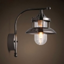 Living Room Sconce Light Metal Single Light Industrial Wall Light Fixture in Black/Gray