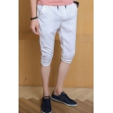 Mens Summer Drawstring Waist Stylish Slim Fit Cropped Pants Shorts