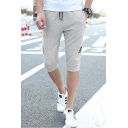 Mens Hot Fashion Stripe Side Drawstring-Waist Slim Fit Athletic Sweat Shorts