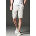 Mens Summer Trendy Letter Patched Drawstring Waist Linen Casual Shorts