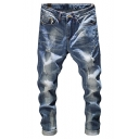 Mens Fashion Cool Washed Rolled Cuff Light Blue Slim Fit Ripped Jeans