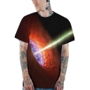 New Fashion Cool 3D Black Hole Print Short Sleeve Relaxed Fit T-Shirt