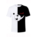 New Fashion Cute Cartoon Black and White Bear Printed Short Sleeve Unisex Loose Fit T-Shirt