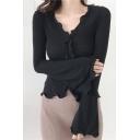 Fashionable V-Neck Flare Long Sleeve Ruffle Edge Design Plain Slim T-Shirt