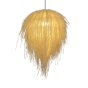 1 Head Hanging Light for Restaurant Simple Style Rattan Drop Light in Beige with 47