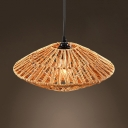 Woven Saucer Suspended Lamp Rustic Style Rope Hanging Light for Restaurant, 10