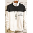 Popular Mens Stripe Letter Printed Colorblocked Long Sleeve Round Neck Casual Sweatshirt