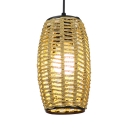 Woven Bucket Ceiling Pendant Light for Restaurant Rustic 1/3 Light Suspended Lamp in Beige/Coffee