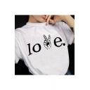Trendy Finger Letter LOVE Printed Short Sleeve Round Neck Casual Tee