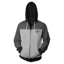Hot Fashion 3D Wolf Letter Print Cosplay Costume Long Sleeve Grey Zip Up Drawstring Hoodie