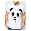 Trendy Splash-Ink Panda Pattern Round Neck Short Sleeve Unisex Casual T-Shirt