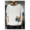 Men's Retro Ethnic Printed Half Sleeve Round Neck Linen Casual T-Shirt with Pocket