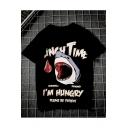Mens Trendy Shark Letter I'M HUNGRY Print Black Short Sleeve Loose Fit T-Shirt