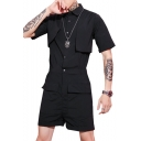 Hair Stylist Solid Color Lapel Collar Short Sleeve Button Front Fashion Black Slim Playsuits Rompers