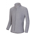 Mens New Fashion Slim-Fit Zip Closure Polar Fleece Plain Stand Collar Sweatshirt Jacket