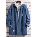 New Fashion Blue Destroyed Ripped Frayed Hem Mens Longline Denim Coat