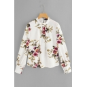 Fashion Floral Stripes Printed Stand Collar Long Sleeve Blouse for Women