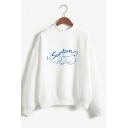 Fashion Letter SEVENTEEN Graphic Print Mock Neck Long Sleeve Regular Fit Pullover Sweatshirt