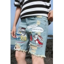 Cartoon Rabbit Comic Printed Destroyed Ripped Light Blue Denim Shorts for Guys