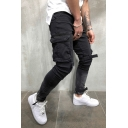 Men's Street Fashion Cool Flap-Pocket Side Velcro Patched Black Cargo Jeans