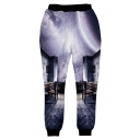 Chinese Style Fashion 3D Purple Galaxy Printed Men's Sport Casual Sweatpants
