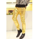 Mens Trendy Nightclub Cool Plain Metallic Color Zipper Fly Slim-Fit Biker Pants Leather Pants