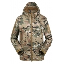 Fashion Zip Up Long Sleeve Camouflage Printed Khaki Hooded Windbreaker Jacket