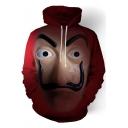 Halloween Cosplay Costume 3D Figure Face Printed Red Hoodie