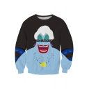 New Stylish Comic Monster Letter TRUST NO BITCH Printed Long Sleeve Round Neck Casual Black Sweatshirt