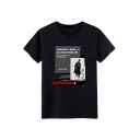 Hot Popular Letter Figure Print Round Neck Short Sleeve Loose Fit Cotton Graphic Tee